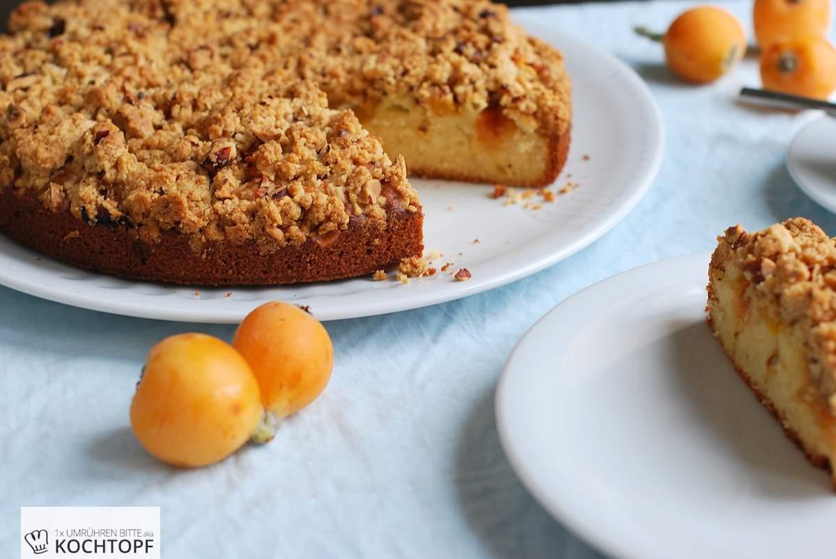 Streusel Joghurt Kuchen Mit Mispeln Und Aprikosen Frisch Vom Baum