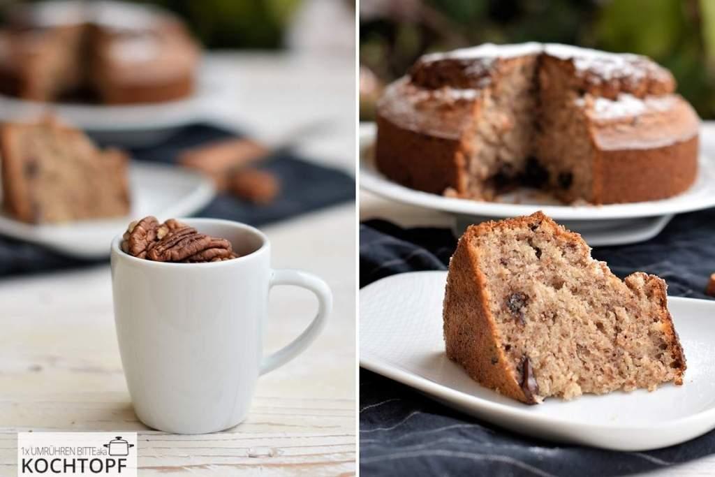 Kittys einfacher 7 Tassen-Kuchen mit Pekan & Schokolade (Rezept inkl. Grammangaben)